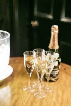 Flutes filled with Belle Epoque 2004 ready for guests. Please Drink Responsibly
