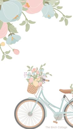 iPhone Watercolor Floral and Blue Bicycle Wallpaper by The Birch Cottage - The Birch Cottage Simple Iphone Wallpaper, Cute Pastel Wallpaper, Cute Patterns Wallpaper, Flower Background Wallpaper, Flower Phone Wallpaper, Live Wallpaper Iphone, Cute Wallpaper Backgrounds, Pretty Wallpapers, Cartoon Wallpaper