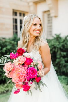 pink bridal bouquets See photos and details from Amie Killingsworth and Geran Sanders' modern pink Oklahoma wedding from Nicole Allen Events and Sarah Libby Photography Bridal Bouquet Pink, Flower Bouquet Wedding, Bridesmaid Bouquet, Hot Pink Bouquet, Purple Bouquets, Peonies Bouquet, Bridesmaid Dresses, Bright Wedding Flowers, Bridal Flowers