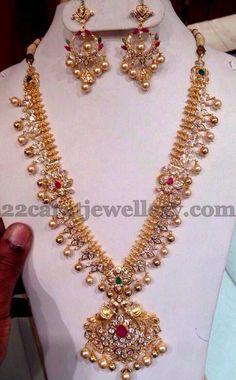 Jewellery Designs: Kundan Haram wi th Chandbalis Long Pearl Necklaces, Pearl Jewelry, Indian Jewelry, Wedding Jewelry, Jewelery, Gold Jewelry, Diamond Jewelry, Fine Jewelry, Gold Jewellery Design
