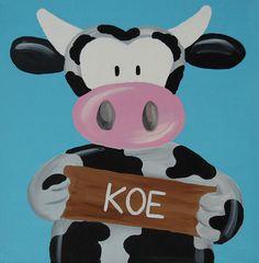 Beestenboel schilderij: Koe. Bestaat uit een serie van negen schilderijen 30cm bij 30cm. Stephanie Fiseler | Unieke, vrolijke, kleurrijke schilderijen voor baby- & kinderkamers