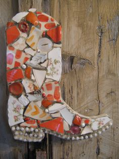 Orange and white mosaic cowboy boot.