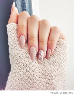 long-nude-nails-with-glitter More #nudenails