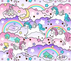 16 Pegasus winged unicorns pegacorns stars rainbows clouds trees ponds lakes teddy bears shooting cats fairy kei lolita sky skies pony ponies horses  sanrio inspired little twin stars moon castles  colorful  fabric by raveneve on Spoonflower - custom fabric