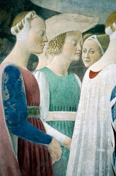 Detail from The Legend of the True Cross showing adoration of wood and meeting of Queen of Sheba and King Solomon, by Piero della Francesca, 1452-1466, fresco