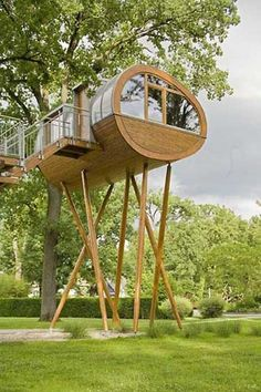 "Stick leg tree house. It's not exactly a ""tree"" house but it's really close and it's really cool!"