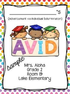 This year, our school became an AVID* elementary from K-6. I created these covers for students to pick, color and place in their AVID binders. This is a great way for students to organize themselves by simply having an awesome cover!Thank you for downloading my product.*AVID stands for Advancement Via Individual Determination