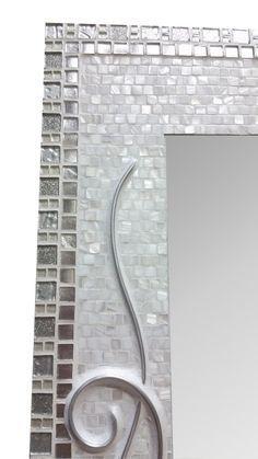 Large Decorative Tiles White Mirror  Mosaic Mirror  Beach Mirror  Bathroom Decor