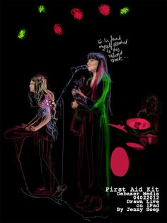 Jenny Soep Jenny attends gigs and draws from life on her iPad for quick colourful reportage that instantly takes you to the gig