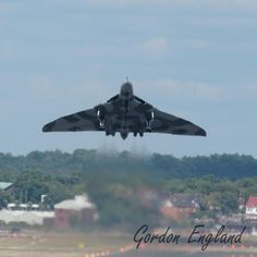 Avro Vulcan delta wing subsonic jet bomber getting airbourne.