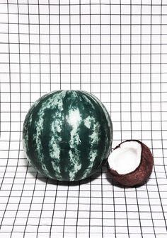 "Inspiratie - design / fotografie ""Watermelon & Coconut"" Courtesy of Dom Sebastian Vaporwave, Graffiti, Still Life Photography, Mj Photography, Pattern Photography, Illustrations, Portrait, Color Inspiration, Motivation Inspiration"