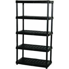 5 Tier 72x36x24 Shelf by Centrex Plastics Llc. $67.49. Fundamentals Black 5 Tier Ventilated Shelf UnitManufactured of heavy-duty high-impact resign. Assembles in minutes. Shelf will not rust, stain, peel, or dent. 150 lb. shelf capacity. Elevated from floor for garage or outdoor use. Unit measures 72 IN H. x 36 IN W. x 24 IN D.