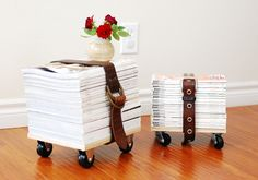 Turn a stack of magazines you've been hoarding for a future reading session into a small stool. Grace of Whimzeecal added casters to magazine-size pieces of plywood and strapped her stacks down tightly with old leather belts. Strap a pillow to the top for a comfortable stool or footrest, or leave it pillow-less for a cute spot to set a small vase. Get the tutorial at Whimzeecal.