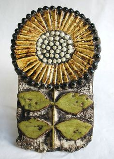 Lisa Larson pottery sunflower wall sculpture, Gustavsberg, Sweden