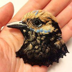 #bird  #embroidery #art #embroideryart #handembroidery #embroiderydesign #needlework #stitching #thread #handmade #hobby #birdlovers #brooch soon in my #etsy #shop #etsyshop : conieco