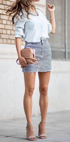 Skirt, nude high heels, blue blouse, leggy, long lean legs outfits for warm Summer Fashion For Teens, Summer Fashion Outfits, Casual Summer Outfits, Chic Outfits, Spring Summer Fashion, Trendy Outfits, Casual Wear, Trendy Fashion, Fashion Trends