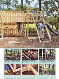 Kids Climbing Frame Plans - Children's Outdoor Plans and Projects - Woodwork, Woodworking, Woodworking Plans, Woodworking Projects Climbing Frame Diy, Garden Climbing Frames, Playground Design, Children Playground, Playground Ideas, Backyard Playground, Diy Kids Furniture, Furniture Projects, Backyard Playhouse