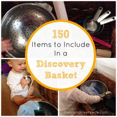 150 items to include in a baby discovery basket for natural exploration and play Montessori Baby, Montessori Activities, Montessori Playroom, Montessori Education, Preschool Classroom, Kindergarten, Baby Sensory Play, Baby Play, Infant Activities