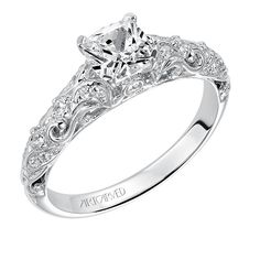 Artcarved Bridal: GLENDA, #31-V529, prong set cushion shape diamond engagement ring with diamond accented carved shank #ArtCarvedBridal