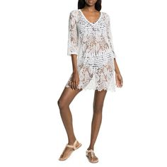 After a day on the beach, slip this fresh white crochet beach dress over your swimsuit. It is both feminine and flirty, and the crochet features a paisley and palm design, perfect for sultry summer days. Crochet Beach Dress, Paisley, Cover Up, Feminine, Swimsuits, Dresses, Design, Fashion, Girly