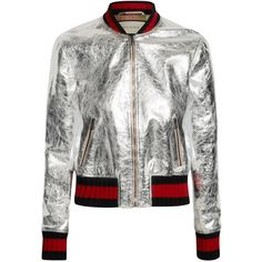 Gucci Metallic leather bomber jacket ($3,500) ❤ liked on Polyvore featuring outerwear, jackets, gucci, tops, bomber jacket, silver, zip bomber jacket, patterned bomber jacket, genuine leather bomber jacket and white bomber jacket