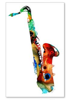 Saxophone Music Art Print from Painting Colorfuln Musical Jazz Band Rock And Roll CANVAS Ready To Hang Large Artwork FREE Shipping S/H via Etsy