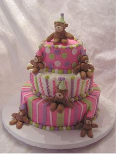 Teddy Bear Party cake - Im all Teddy Bears and this is just lovely !