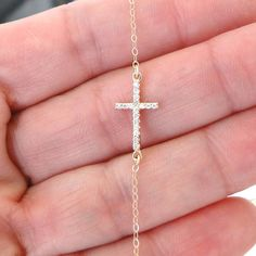 Small Diamond Sideways Cross Necklace 14K Gold by classicdesigns, $296.00