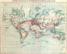Carte des cables télégraphiques en 1901