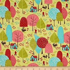 Moda Lil' Red To Grandmother's House Sprig from @fabricdotcom  Designed by Chez Moi for Moda Fabrics, this cotton print fabric is perfect for quilting, apparel and home decor accents. Colors include pink, red, turquoise and brown.