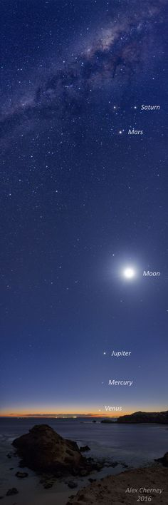 Five Planets and the Moon over Australia