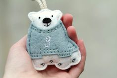 Items similar to Polar Bear Ornament. Baby's First Christmas Ornament. Polar Bear in Sweater Keepsake Ornament. on Etsy Baby's First Ornament, Baby First Christmas Ornament, Baby Ornaments, Felt Christmas Ornaments, Babies First Christmas, Noel Christmas, Owl Ornament, Handmade Christmas, Felt Crafts