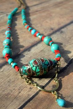 Tibetan Ethnic Turquoise Jasper Coral Brass by Cheshujewelry, $46.00