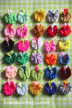 Yarn butterflies using some yarn and a fork! Tutorial by homemade@myplace