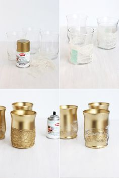 ▷ 1001 + design ideas for candles yourself- ▷ 1001 + Ideen zum Kerzen selber gestalten Design your own candle holder, spray with golden spray, decorate with lace - Lace Candles, Votive Candles, Gold Diy, 50th Wedding Anniversary Decorations, Wedding Decorations, Decoration Evenementielle, Gold Candle Holders, Cheap Candle Holders, Gold Centerpieces
