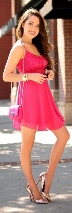 Pink Sexy Lace Mini Dress with Gold Pumps   Street Chic Outfits