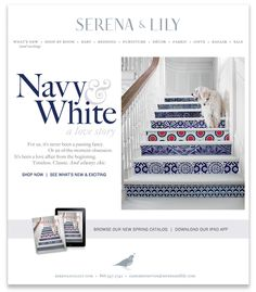 wallpapered stairs - Google Search Val:Navy and white with a splash of colour to break it up although I'd prefer the black and white to go with the floor tiles?