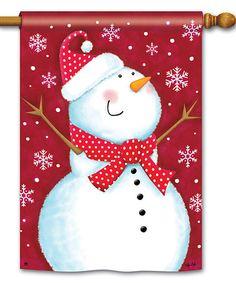 Look at this #zulilyfind! Red Snowman Flag #zulilyfinds