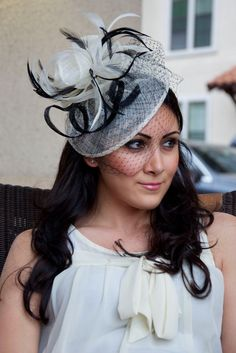 43a9c6eb821 Noor Ivory and Black Fascinator Hat Headband w Ribbon waves and feathers  perfect for weddings