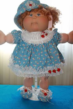 """Cabbage Patch Doll Cloths -Blue Dress, Panties, Hat and Shoes- fits 16""""…"""