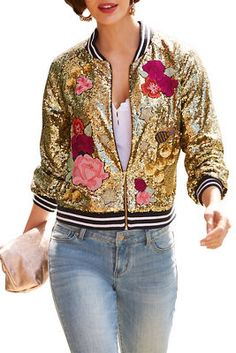Yogurt Women Floral Print Classic Quilted Baseball Jackets Short Bomber Jacket Coat