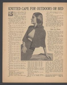Free vintage knitting pattern for woman's cape which will look just as great today as it did in 1947
