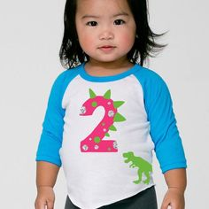 1a6a606ae Age Memory Girls Pink Dinosaur Birthday Custom Raglan Toddler Shirt with  Name on Back Girl Dinosaur