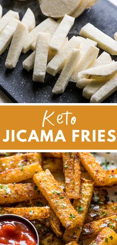 These crispy and deliciously seasoned jicama fries are baked in the oven to golden brown perfection! Made with only 5 simple ingredients these jicama fries are gluten free low carb keto paleo and vegan! Vegan Baking Recipes, Low Carb Recipes, Healthy Recipes, Raw Recipes, Soup Recipes, Chicken Recipes, Dessert Recipes, Keto Side Dishes, Side Dish Recipes
