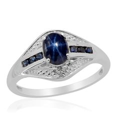 Liquidation Channel: Thai Blue Star Sapphire Diffused. Kanchanaburi Blue Sapphire, and Diamond Ring in Platinum Overlay Sterling Silver (Nickel Free)