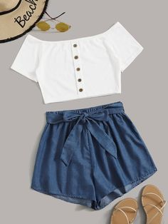 Shop Ribbed Button Front Off Shoulder Top With Belted Shorts at ROMWE, discover more fashion styles online. Cute Comfy Outfits, Cute Girl Outfits, Pretty Outfits, Stylish Outfits, Cool Outfits, Girls Fashion Clothes, Teen Fashion Outfits, Tween Fashion, Style Clothes