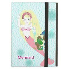 Magical Pretty Mermaid Swims with Sea Horses iPad Air Cover
