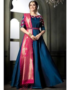 A Bunch Of Silk Embroidered Evening Wear Anarkali Style Salwar Suit Set.Renovate your boutique collection by adding this salwar suit from the popular wholsale brand. Silk Anarkali Suits, Half Saree Lehenga, Anarkali Dress, Anarkali Bridal, Indian Anarkali, Salwar Suits, Saree Blouse, Sarees, Banarasi Lehenga