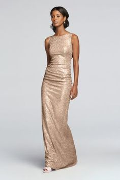 Complete your party in head-to-toe sequins with this dazzling high-neck, floor-length bridesmaid dress.  Sequin  Back zipper; fully lined  Dry Clean  Imported Protect your dress before you wear it with our Garment Bag.