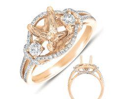 Rose Gold 3 stone Halo Ring  - Crescent Jewelers illinois